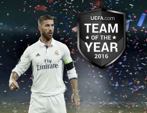 Sergio Ramos, Most Voted Player for the UEFA Team of the Year 2016