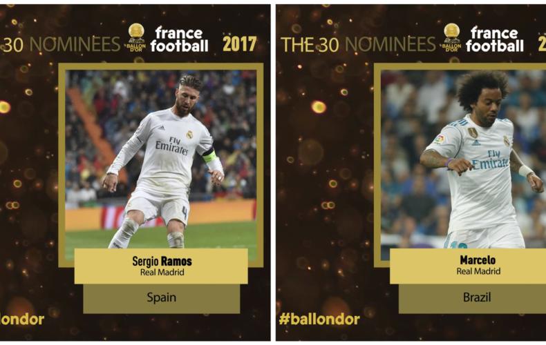 Sergio Ramos y Marcelo, nominados al Balón de Oro 2017